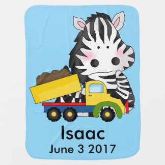 Isaac's Personalized Zebra Receiving Blanket