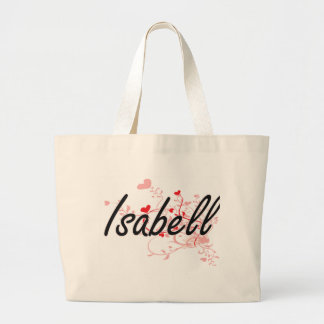 Isabell Artistic Name Design with Hearts Jumbo Tote Bag