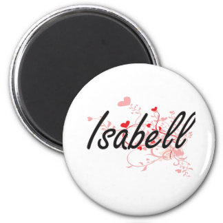 Isabell Artistic Name Design with Hearts 2 Inch Round Magnet