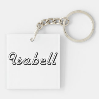 Isabell Classic Retro Name Design Double-Sided Square Acrylic Keychain