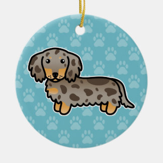 Isabella And Tan Dapple Long Coat Dachshund Dog Ceramic Ornament
