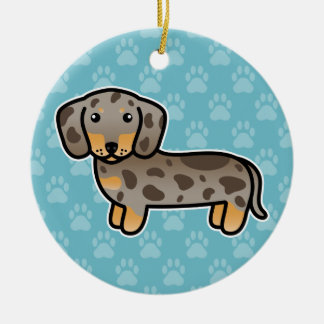 Isabella And Tan Dapple Smooth Coat Dachshund Dog Ceramic Ornament