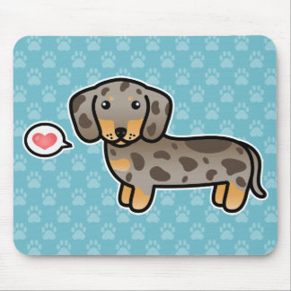 Isabella And Tan Dapple Smooth Coat Dachshund Dog Mouse Pad