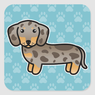 Isabella And Tan Dapple Smooth Coat Dachshund Dog Square Sticker