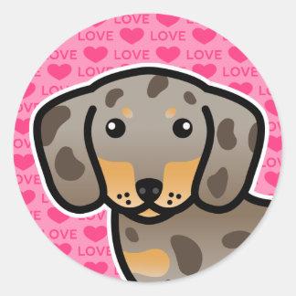 Isabella And Tan Dapple Smooth Coat Dachshund Love Classic Round Sticker