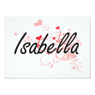 Isabella Artistic Name Design with Hearts 5x7 Paper Invitation Card