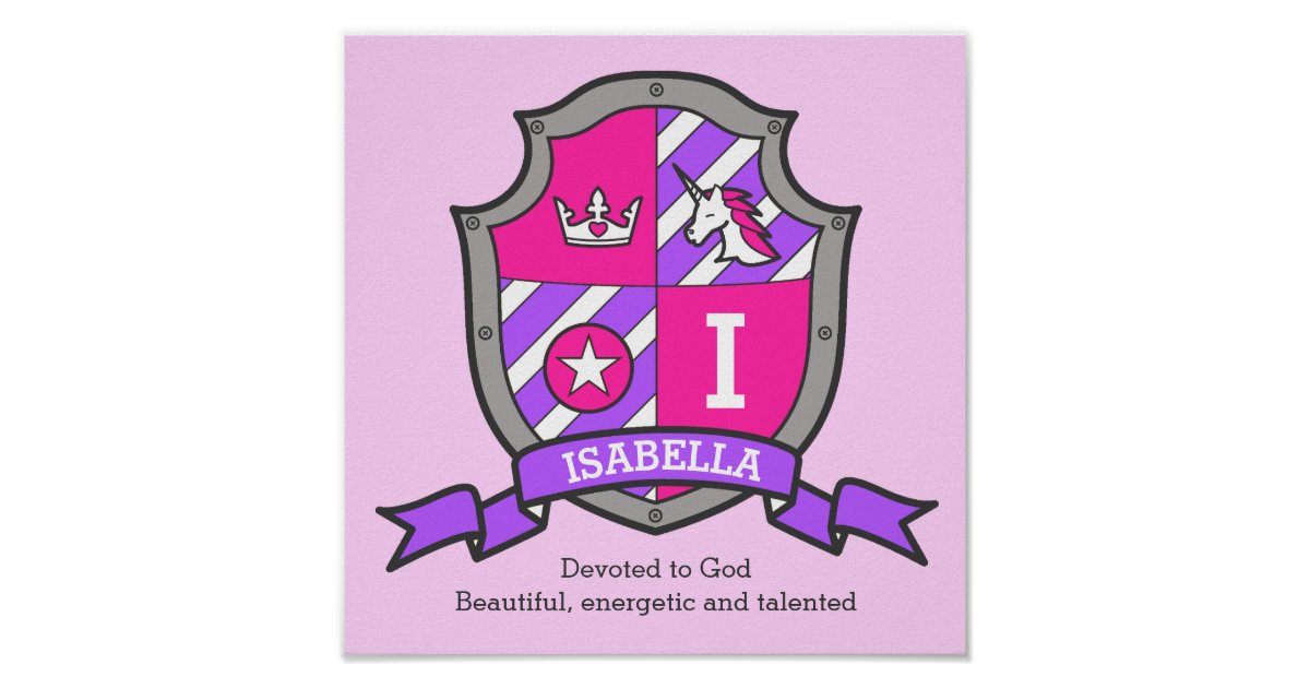 Isabella girls name meaning heraldry shield poster ...