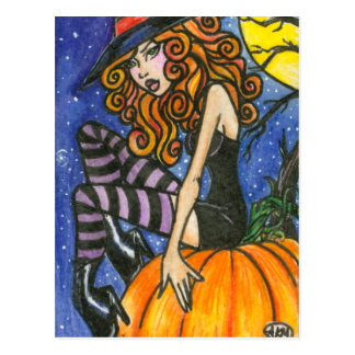 Isabella : Halloween Witch Postcard by Faerydae
