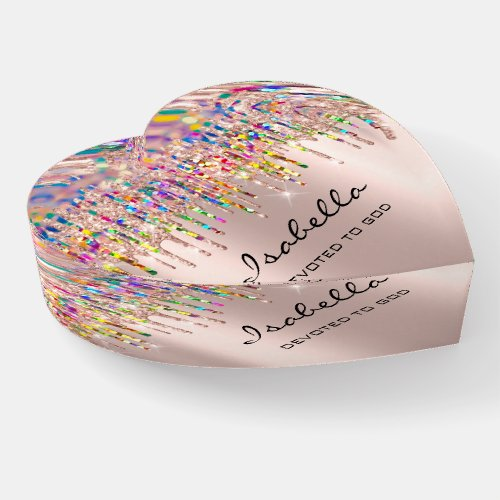 Isabella Holograph Rose Rainbow Drips Name Heart Paperweight