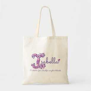 ab5cf5b586f5 Isabella name meaning personalized library bag