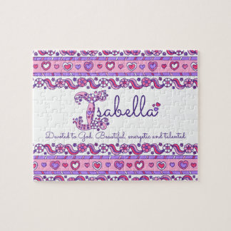 Isabella name meaning pink purple jigsaw puzzle