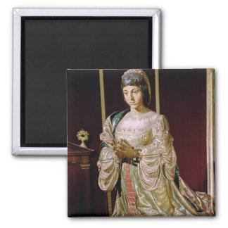 Isabella of Castile  in Prayer, 1520-22 2 Inch Square Magnet