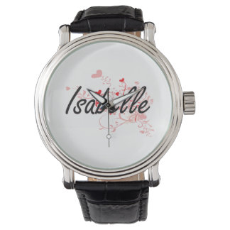 Isabelle Artistic Name Design with Hearts Watches