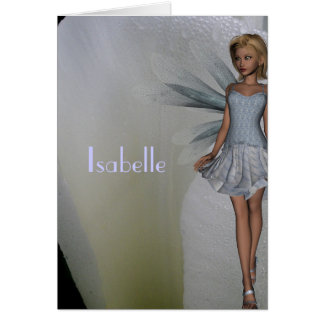 Isabelle White Fairy and Tulip Name Greeting Card