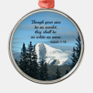Isaiah 1:18 Though your sins be as scarlet... Metal Ornament