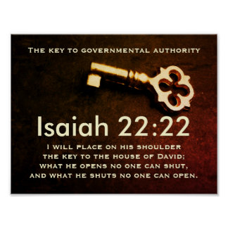 Isaiah 22:22 Key to the House of David Bible Verse Poster