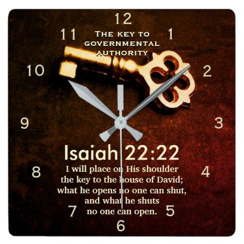 Isaiah 22:22 Key to the House of David Bible Verse Square Wall Clock