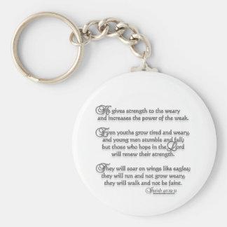 Isaiah 40:29-31 basic round button keychain