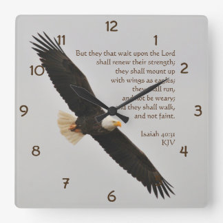 Isaiah 40:31 But they that wait upon the Lord Square Wall Clock