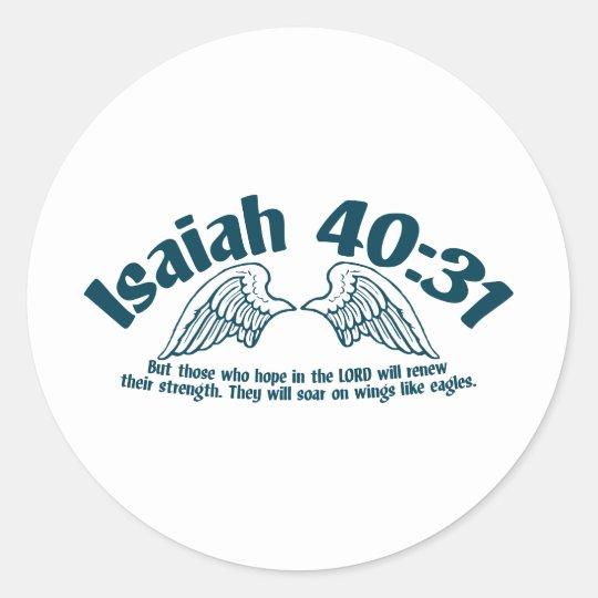 Isaiah 40:31 classic round sticker