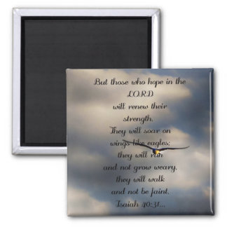 Isaiah 40:31 Custom Christian Bible Verse Gift 2 Inch Square Magnet