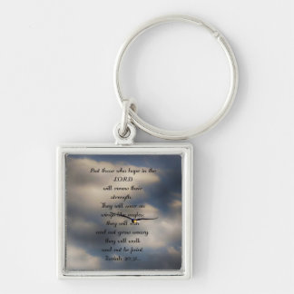 Isaiah 40:31 Custom Christian Bible Verse Gift Silver-Colored Square Keychain