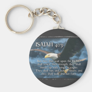 ISAIAH 40:31  Mount up with wings as EAGLES Basic Round Button Keychain
