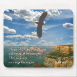"""Isaiah 40:31 Scripture Mousepad<br><div class=""""desc"""">Isaiah 40: 31 &quot;They who hope in the Lord will renew their strength.  They will soar on wings like eagles.  Inspirational Bible scripture verse set against a bald eagle in flight over the Grand Canyon.  From the Inspirations collection at www.zazzle.com/RanchLady*  (Digitally enhanced photograph)</div>"""