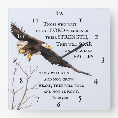 Isaiah 40:31 Those who wait on the Lord, Bible Square Wall Clock