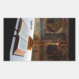Isaiah 41:10 Bible and Cross Rectangular Sticker