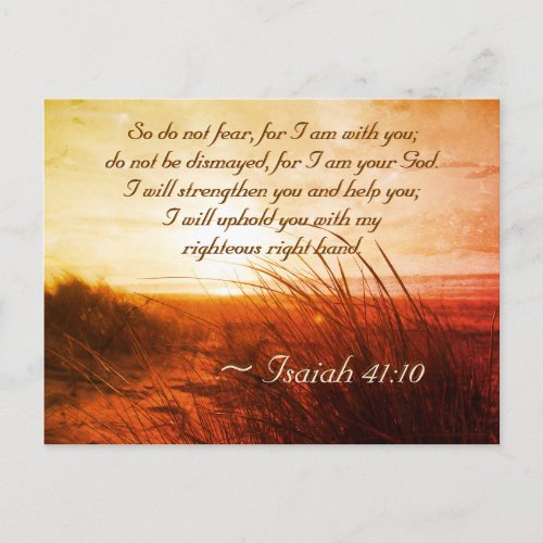 Isaiah 4110 Bible Verse Do not fear I am with you Postcard