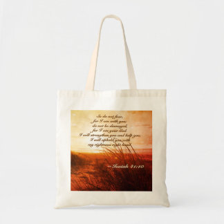 Isaiah 41:10 Bible Verse Do not fear I am with you Tote Bag