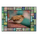 Isaiah 41:10 Bible Verse With Bird Stained Glass Greeting Card