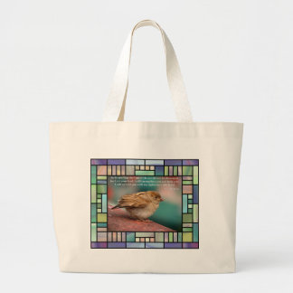 Isaiah 41:10 Bible Verse With Bird Stained Glass Large Tote Bag