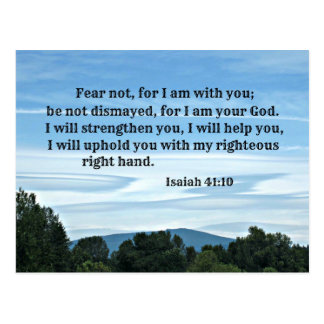 Isaiah 41:10 Fear not for I am with you, Postcard