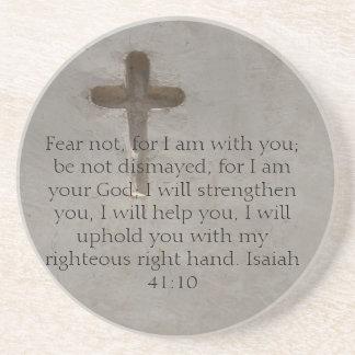 Isaiah 41:10 Inspirational Bible Verse Drink Coasters