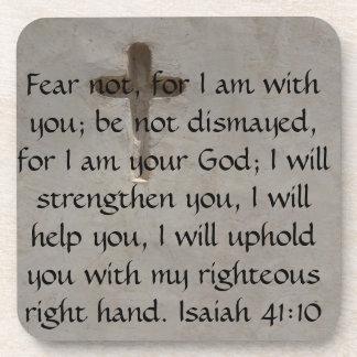 Isaiah 41:10 Inspirational Bible Verse Beverage Coaster