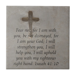 Isaiah 41:10 Inspirational Bible Verse Small Square Tile