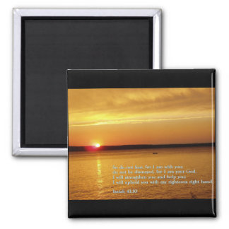 Isaiah 41:10  Sunset 2 Inch Square Magnet