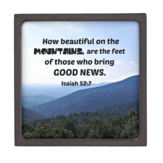 Isaiah 52:7 How beautiful on the mountains are Jewelry Box