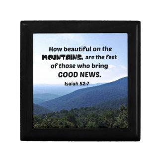 Isaiah 52:7 How beautiful on the mountains are Keepsake Box