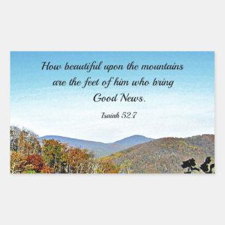 Isaiah 52:7 How beautiful upon the mountains.... Rectangular Sticker