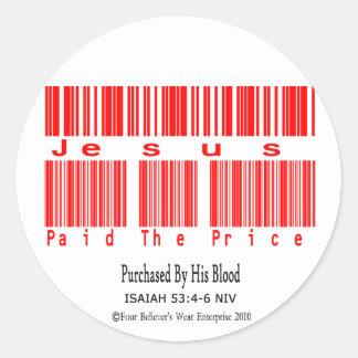 Isaiah 53:4-6 Design (Jesus Paid The Price) Classic Round Sticker