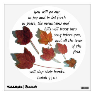 Isaiah 55:12 Bible Verse Scattered Maple Leaves Wall Decal