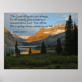 Isaiah 58:11 Mountain Sunset Poster