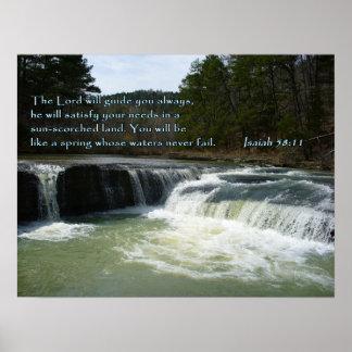 Isaiah 58:11 Waterfall Print
