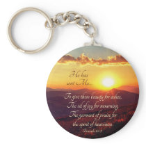 """Isaiah 61""""3 Oil of Joy for Mourning, Bible Verse Keychain"""