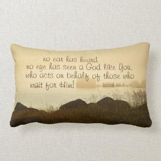 Isaiah 64:4 Bible Verse Beautiful Ocean Shorline Lumbar Pillow