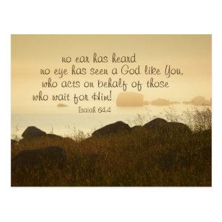 Isaiah 64:4 Bible Verse Beautiful Ocean Shorline Postcard