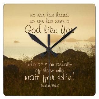 Isaiah 64:4 Bible Verse Beautiful Ocean Shorline Square Wall Clock